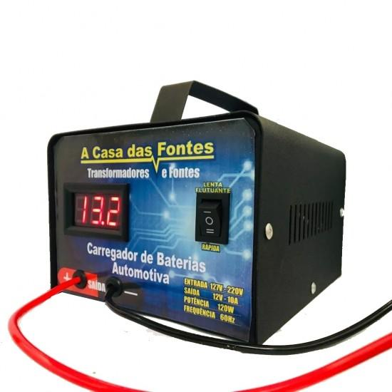 Carregador Automotivo De Baterias 12v Portátil  20ah Carro, Moto e  Náutica Flutuante até 300 ampéres com voltimetro