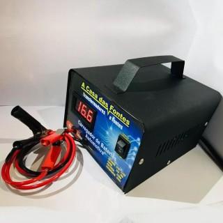 Carregador De Baterias Portátil 12 v 20ah Carro, Moto e Náutica Flutuante até 300 amperes com voltímetro