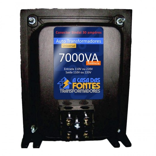 Auto Transformador 7.000 va - Bivolt  127/220 OU 220/127 - Para ar condicionado de até 18.000 btus SPLIT - Conector Sindal