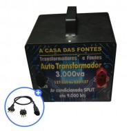 Auto transformador 3.000 VA Gabinete metálico com pintura Eletrostática  [110 para 220 e/ou 220 para 110]